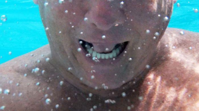 Dad underwater