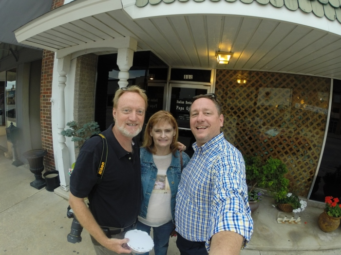 Richard, Abby and I outside of Papa Gjorgjo's in Ada, OK.