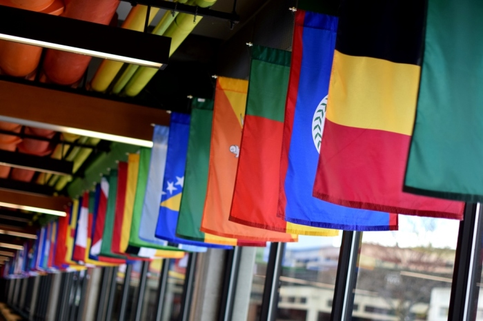 The Hall of Flags on the UVU campus.