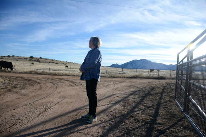 My Aunt Lynn surveys her acreage