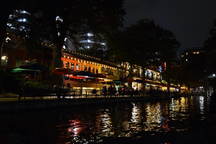 The famous RiverWalk at night