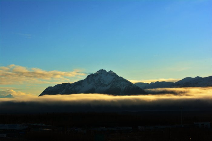 One of the amazing views in Wasilla. This peak looks like it is just floating in air.