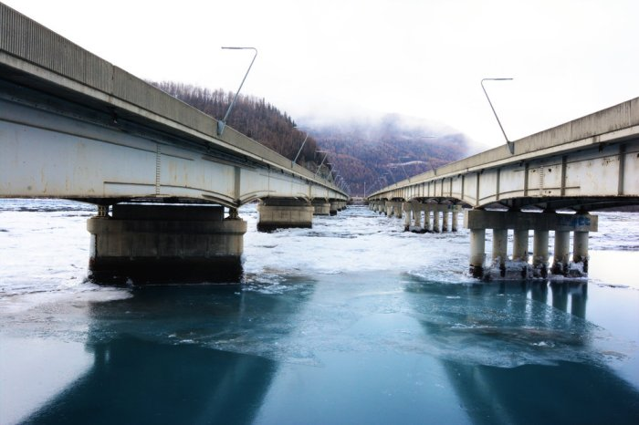 The Knik River bridges, one bridge for each traffic flow