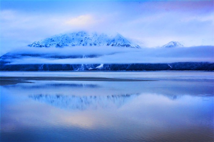 A serene mountain reflection on the Turnagain Arm