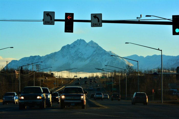 One of the main streets in Wasilla had quite the view