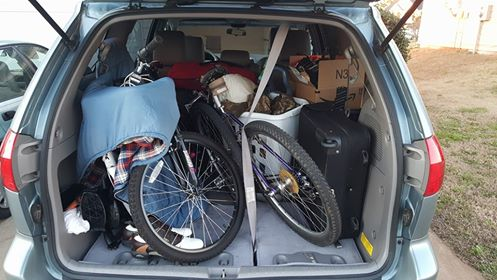 My van packed and ready for a 4,200 mile journey